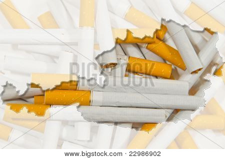 Outline Map Of Austria With Transparent Cigarettes In Background