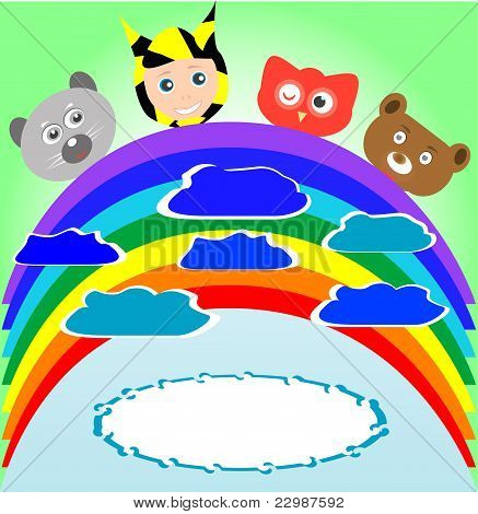 cute kid and animals viewing rainbow