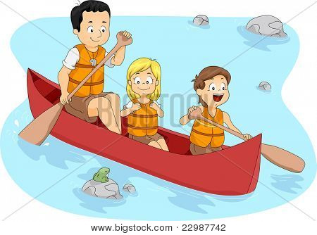 Illustration of Campers Boating