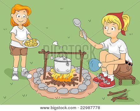 Ilustração de um garoto ajudando seu cozinheiro do líder conselheiro/Camp