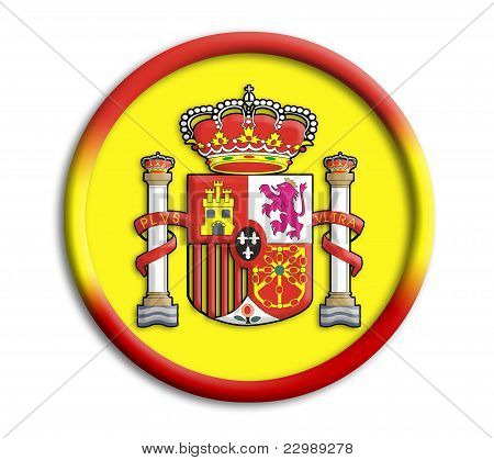 Spain button shield on white background