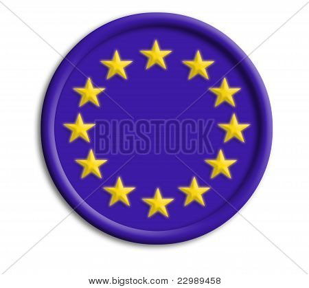 Europe union button shield on white background