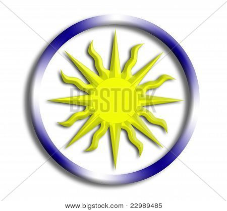 Uruguay button shield on white background