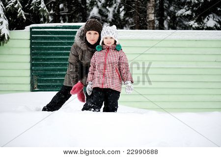 Winter Portrait Of Young Mother And Daughter