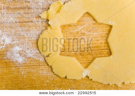 Star Shape In Cookie Dough