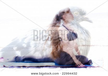 Woman In Yoga Pose Inside Pigeon