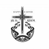 Happy Easter And He Is Risen Icon Of Cross Crucifix Laurel Wreath For Christian Religious Easter Hol poster