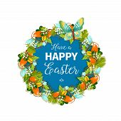 Happy Easter Greeting Card Or Poster For Christian Religious Holiday. Vector Design Of Easter Eggs I poster