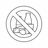 Forbidden Sign With Dairy Linear Icon. Lactose Free. Thin Line Illustration. Stop Contour Symbol. Ve poster