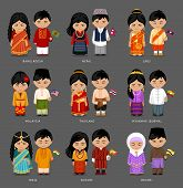People In National Dress. Burma (myanmar), Brunei, Bhutan, Bangladesh, India, Nepal, Thailand, Malay poster