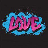 Love Graffiti Style Graphic.vector Urban Graffiti Design. poster
