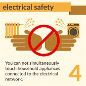 Occupational Safety And Health Vector Icons And Signs Set. Electrical Safety. poster