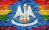 Brick Wall Louisiana And Gay Flags - Illustration, Rainbow Flag On Brick Textured Background,  Abstr poster