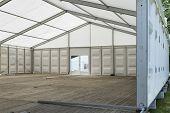 Large Exhibition Tent With Glass Door In Summer - Outdoor Shot. poster