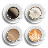 Coffee Cups Set Vector. Top View. Different Types. Coffee Menu. Hot Latte, Cappuchino, Americano, Ra poster