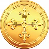 stock photo of crossed pistols  - old French gold coin with the image of a flowering crowns Cross - JPG