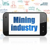 Industry Concept: Smartphone With  Blue Text Mining Industry On Display,  Hand Drawn Industry Icons  poster