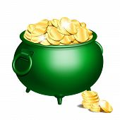 Green Iron Cauldron Full Of Gold Coins Isolated On White Background. Stack Of Gold Coins Near The Gr poster