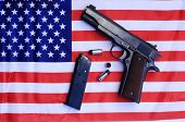 1911 . 45 caliber pistol complete with clip and shells on a American flag. 2nd Amendment Rights to B poster
