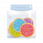 Frosted Sugar Cookies Homemade Italian Freshly Baked In Glass Jar With Pink Violet Blue Green Frosti poster