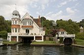 pic of edwardian  - Edwardian boathouses on the banks of the River Thames in the Caversham district of Reading - JPG