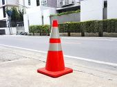 Traffic Cones On Footpath. Safety Cone On Footpath poster
