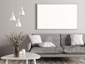 Modern Interior Of Living Room With Grey Sofa, White Coffee Table And Mock Up Poster On The Wall 3d  poster