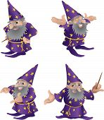 image of merlin  - An illustration of a very funky friendly wizard in four different poses - JPG