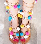 Greek Leather Sandals With Colorful Pom Pom And Evil Eye - Woman Accessories Advertisement poster