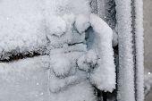 Door Handle And Keyhole Are Covered With Frost. Severe Frosts.  Door Freezes. Icy Handle And Lock Co poster