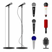 Microphones, A Set Of Microphones. Standing Microphone. poster