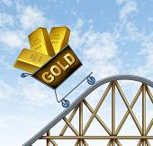image of errat  - Rising gold prices symbol represented by a shopping cart on a rollercoaster with gold bars going up in value as a hedged investment bet against the recesion and inflation - JPG