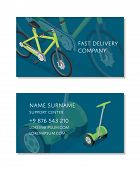 Fast Delivery Company Business Card Template With Electric Scooter And Bicycle. Compact And Eco Vehi poster