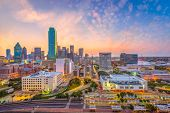 Dallas, Texas, USA downtown city skyline at dusk. poster