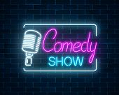 Neon Sign Of Comedy Show With Retro Microphone Symbol On A Brick Wall Background. Humor Monolog Stan poster