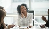 Absent-minded Distracted Black Businesswoman Dreaming Of Success And Happiness At Corporate Group Me poster