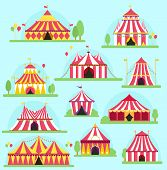 Circus Vector Tent Facade Marquee Marquee Stripes Flags Carnival Entertainment Balloons Lelements Fl poster