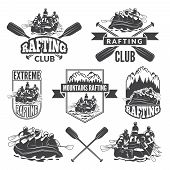 Labels For Sport Club Of Extreme Dangerous Water Sport. Vector Pictures Of Rafting Sport Water, Cano poster