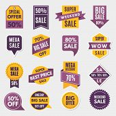 Labels And Tags With Advertizing Info For Promotion And Big Sales. Promotion Sale Label, Sticker Pri poster