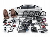 Car Body Disassembled  And Many Vehicles Parts. 3d Illustration poster