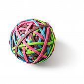 Rubber Band Ball Isolated On White Background Clipping Path Included. Office Supplies. Design Elemen poster