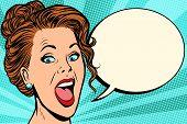 Woman Says Comic Bubble. Pop Art Retro Vector Illustration Cartoon Vintage Kitsch poster