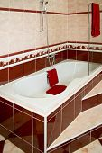 pic of bath tub  - Big bathroom bath tub with decorative ceramics - JPG