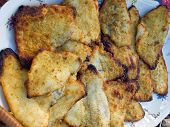 image of flounder  - Fresh tasty roasted fried Flounder Plaice flat fish on a plate - JPG