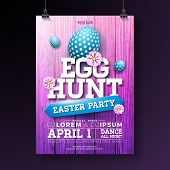Vector Egg Hunt Easter Party Flyer Illustration With Painted Eggs, Flowers And Typography Elements O poster