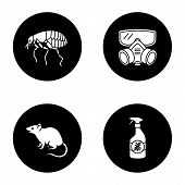 Pest Control Glyph Icons Set. Insects Repellent, Flea, Respirator, Rodent. Vector White Silhouettes  poster