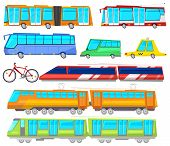 Transport Vector Public Bus Or Train Transported Passengers And Car Or Bicycle For Transportation In poster