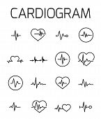 Cardiogram Related Vector Icon Set. Well-crafted Sign In Thin Line Style With Editable Stroke. Vecto poster