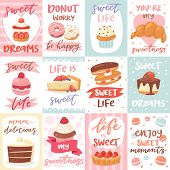 Sweets Lettering Vector Confectionery Cupcake Sign And Sweet Confection Chocolate Dessert With Caked poster