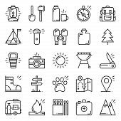 Hiking And Camping Line Icons Set. Outdoor Camp Sign And Symbol. Backpacking Adventure poster